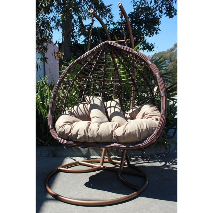 new large outdoor hanging swinging egg pod chair double seat 807