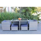 New Wicker 5 Piece Outdoor Dining Setting with Ottoman TC-002
