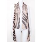 Zebra Leopard Print Draped Vest Brown