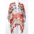 Blood Orange Leopard Print Kaftan Kimono